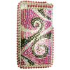 Apple iPhone 3G Hard Back Cover Bling Case with Diamantes - [ PINK/BLACK SPIRAL ] <br>QuickFind: 6908