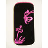 Xpert Systems  Soft Touch Slip Pouch Case [ BLACK WITH PINK BUTTERFLY ] <br>QuickFind: 6986