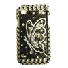 Samsung i9000 Galaxy S Diamante Bling Mobile Phone Cover - [ BLACK WITH SILVER BUTTERFLIES ] <br>QuickFind: 7431