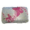 Blackberry 9300 / 8520 Curve Crystal Bling Diamante Cover [ SILVER WITH PINK BUTTERFLIES ] <br>QuickFind: 7674