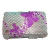 Blackberry 9300 / 8520 Curve Crystal Bling Diamante Cover [ SILVER WITH PINK BUTTERFLIES ] <br>QuickFind: 7690