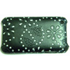 Apple iPhone 3G Diamante Bling Mobile Phone Cover - [ Black with Flowers ] <br>QuickFind: 7724